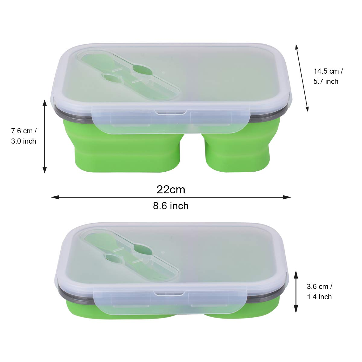Amazon Hot Selling Silicone Folding Collapsible Lunch Box Food Container Kids Fold Microwave Eco Silicon Box Lunch