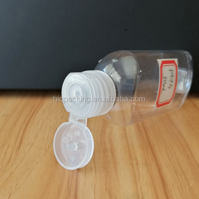 Clear 50 Mils Plastic Bottles Containers Flip Cap Hook Shower 50ml Top Squeeze Hand Gel Bottle With Lid