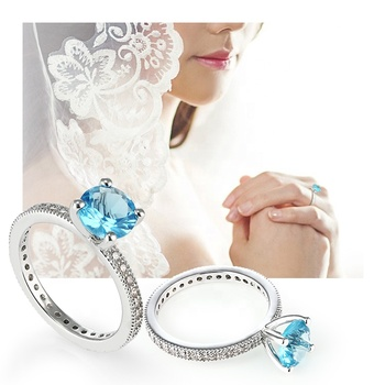 Wholesale 925 Silver Jewels Engagement Ring Set Women Bridal Round Stone wedding Rings