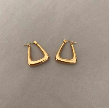 Modern Women Accessories Luxury Unique Shaped Stainless Steel Girls Tube Triangle Shaped Hoop earrings Gold Plated