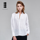 Autumn new women cotton flax blouse white long sleeve v neck ladies shirt