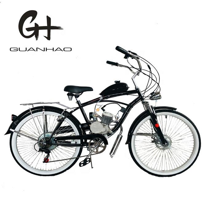 26 นิ้ว 7 เกียร์มอเตอร์ Beach Cruiser จักรยาน 80cc ชุดเครื่องยนต์เบนซิน Moto จักรยานมอเตอร์จักรยาน