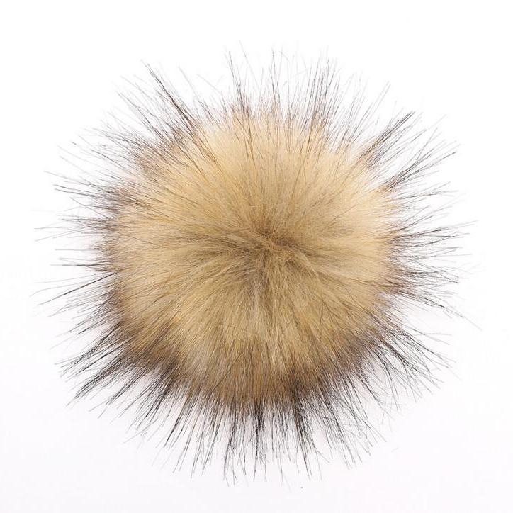 8cm Cheaper faux fur fox rabbit fur pom poms with snap buttons for hats
