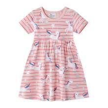 Летняя одежда для девочек 2020, детская одежда, Хлопковое платье для девочек 2-8 лет, детские платья, платье радужного единорога для детей ясель...(Китай)