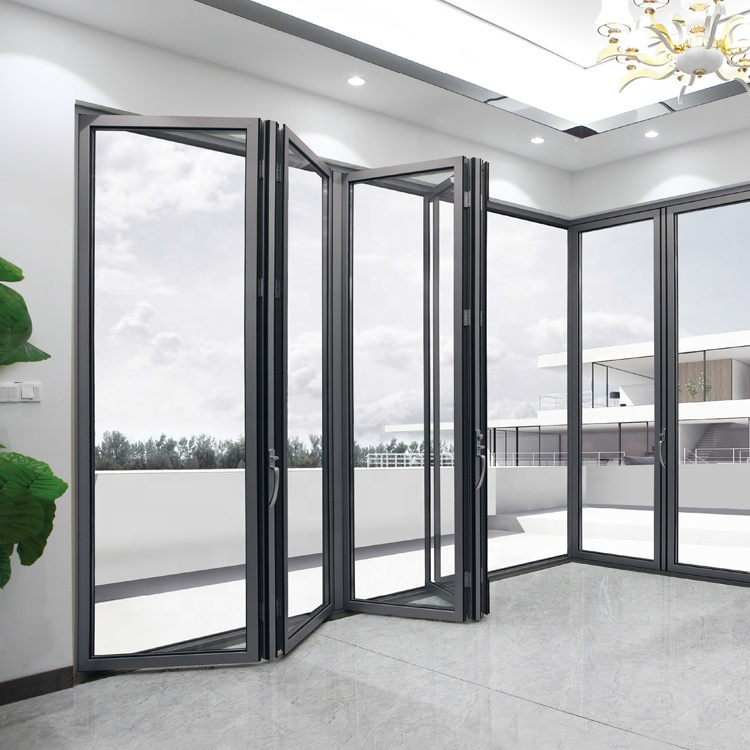 safe aluminum glass folding/ bifold/ bi folding <strong>door</strong>