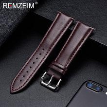 REMZEIM ремешок для часов из натуральной кожи Ремешки для наручных часов 18 мм 20 мм 22 мм 24 мм аксессуары для часов для женщин мужчин коричневый че...(Китай)