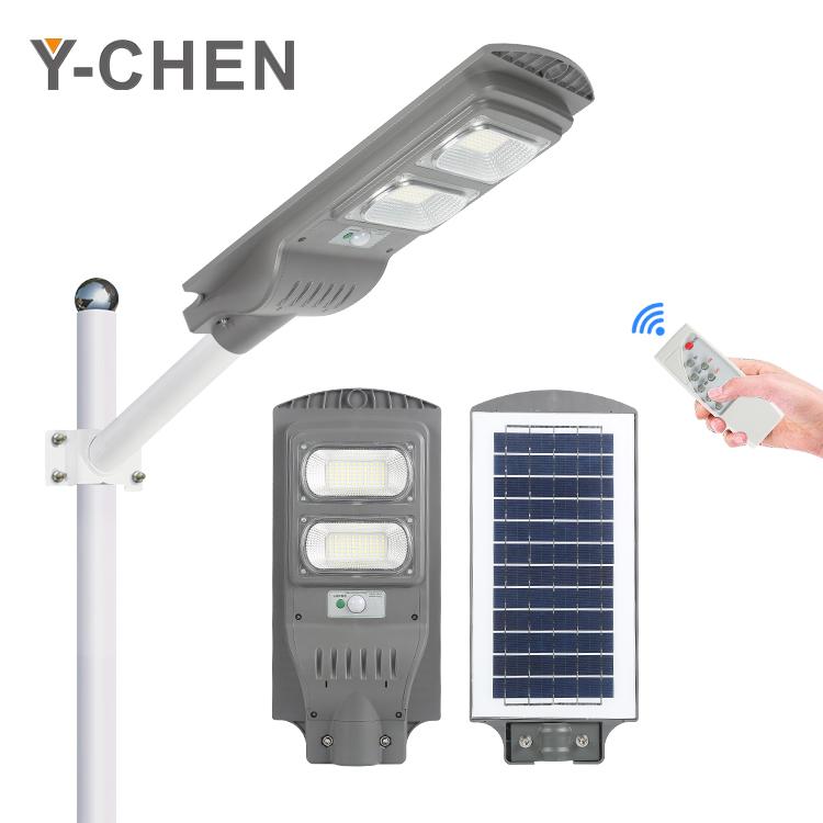 ABS motion sensor control remote 12v outdoor ip65 road 30 60 90 120 w integrated solar led street light