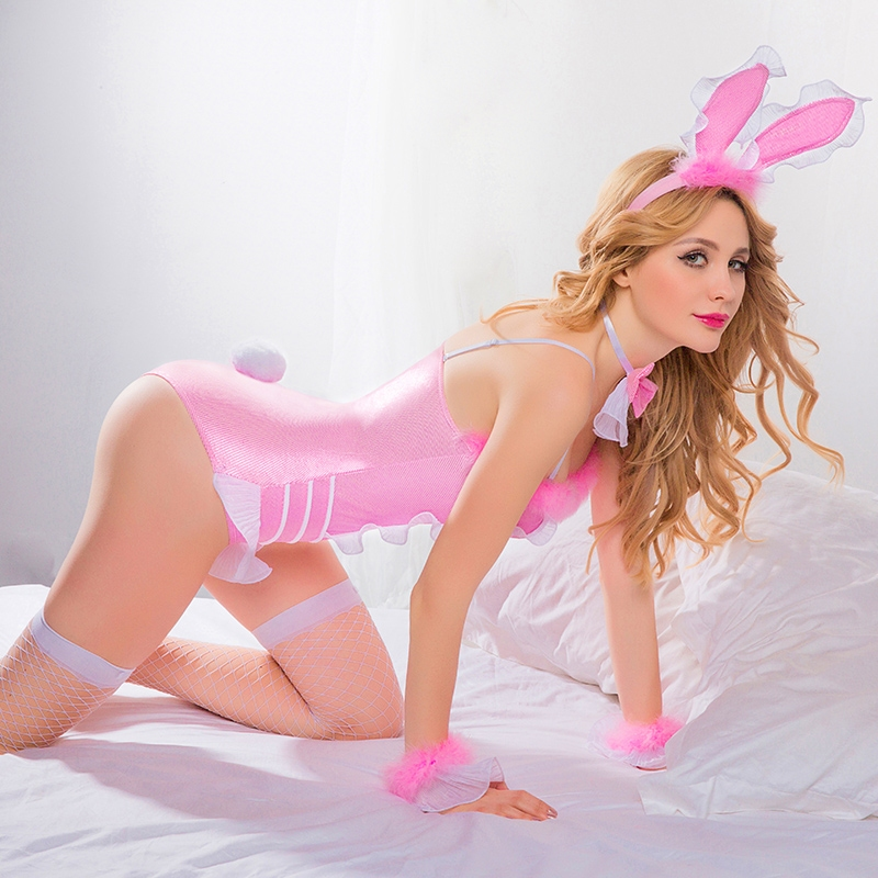 Pink Lingerie Sexy Animal Rabbit Costume for Beautiful Girls naughty bunny girl cosplay costumes for party
