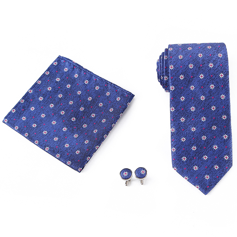 Wholesale Mens Woven Floral <strong>Tie</strong> <strong>Blue</strong> <strong>Flower</strong> Microfiber Jacquard <strong>Tie</strong> and Pocket Square Cufflinks <strong>Tie</strong> Set