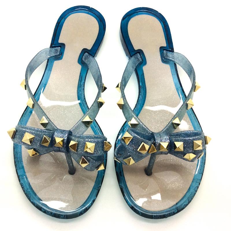 ladies shoes flat casual Rivet Jelly Slippers Pvc Sandals Outdoor Casual Flat Women Jelly Flip Flops women shoes slipper