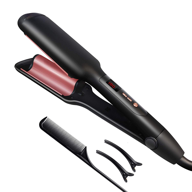 65W Morandi Pink Ceramic Beachy Wavy Curler Deep Beach Waver Crimper Electric Curling Barrel Hair Waver