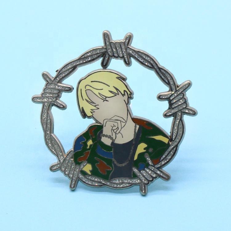 Wholesale Flower Medical Car Metal Badge Logo Cartoon Maker With Glitter Anime Hard Enamel Lapel Pin Custom