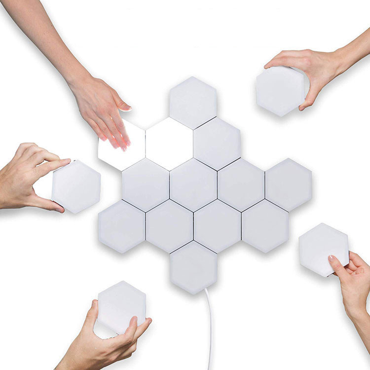 Aplique Hexagonal para pared, luz decorativa, sensible al tacto, Modular