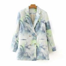 [DEAT] Женский блейзер с карманами и принтом в виде галстука-красителя, новая свободная куртка с отворотом и длинными рукавами, модная демисез...(Китай)
