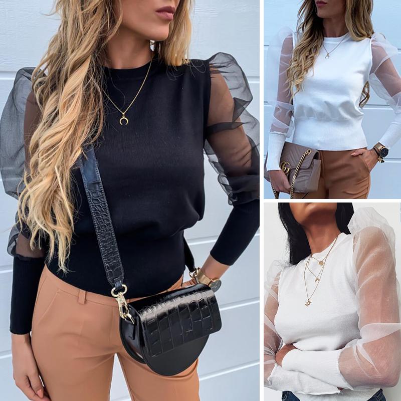 Moda 2020 kobiet O Neck bluzki Mesh Tulle koszule z falbanką