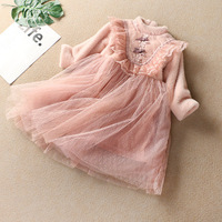 B51686A Fashionable girls vintage style mesh lace patchwork princess dress