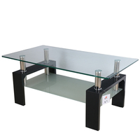 China quality goods cheap wholesale living room furniture high quality black tempered glass metal leg coffee table