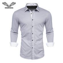 Мужская рубашка с длинным рукавом, белая деловая рубашка, облегающая, для свадьбы, 2018(China)