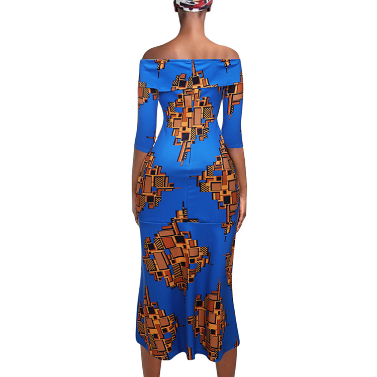 Hot Sale Stylish Lapel Strapless Maxi Print Dresses African Women Elegant Clothing