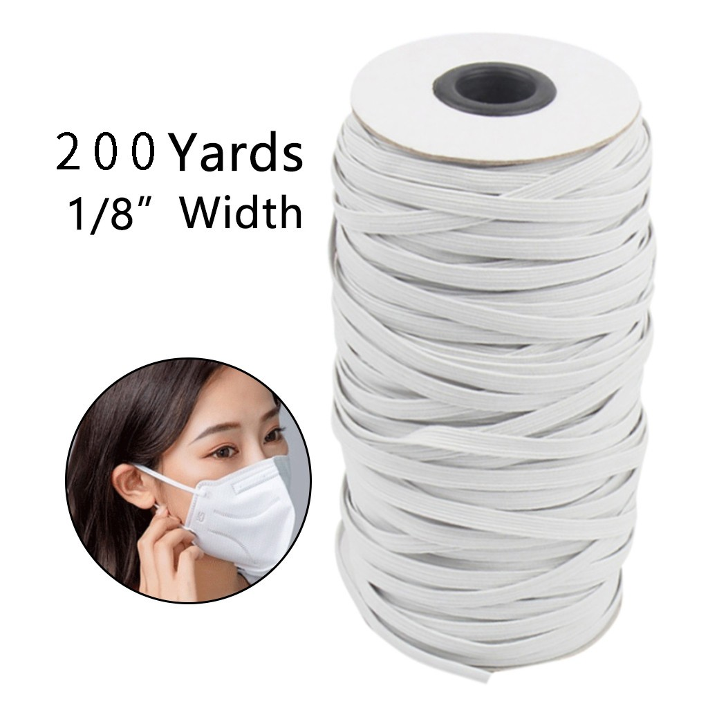 "Knitted Elastic 1//8/"" Trim 100 Yard Roll White Elastic fold over high quality"