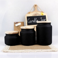 Wholesale 300ml 500ml 700ml Frosted Empty Wood lid Matte Black Glass candle Jar Holder for Candle Making