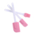 Cheap 3pcs in a set 25cm and 24cm long white handle spatula set silicone