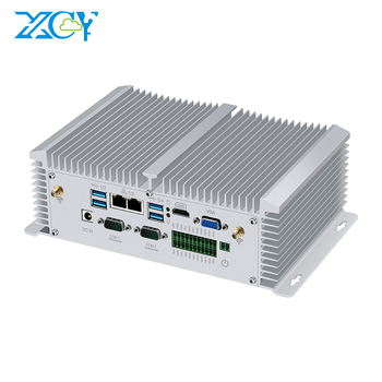 XCY Fanless Industrial computer i5 7200U Mini PC Dual Lan GigE Dual Serial GPIO LVDS Dual DDR4 Memory 4K Video