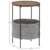 Round Side Table End Table Industrial Coffee Table Nightstand with Storage Basket
