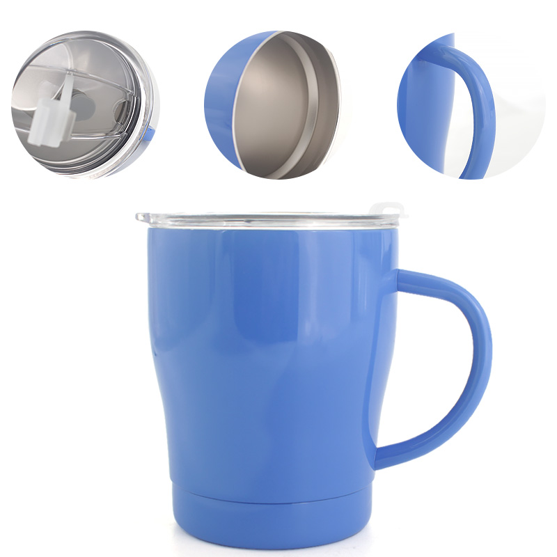 Whole sell Double Wall Vacuum Insulated Stainless Steel Tumbler coffee cup 10oz  With lid with handle