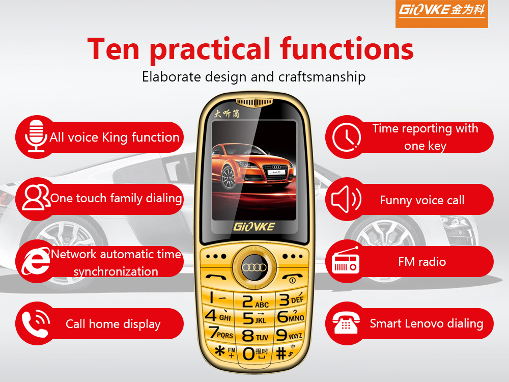 Wholesale Cheap Mobile Phone Keypad GSM Loud Music VK199 Old Feature Phone unlocked phone