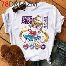 Sailor Moon Kawaii мультфильм футболка женская летняя футболка милый Кот японский аниме Графический Футболка размера плюс женские футболки(China)