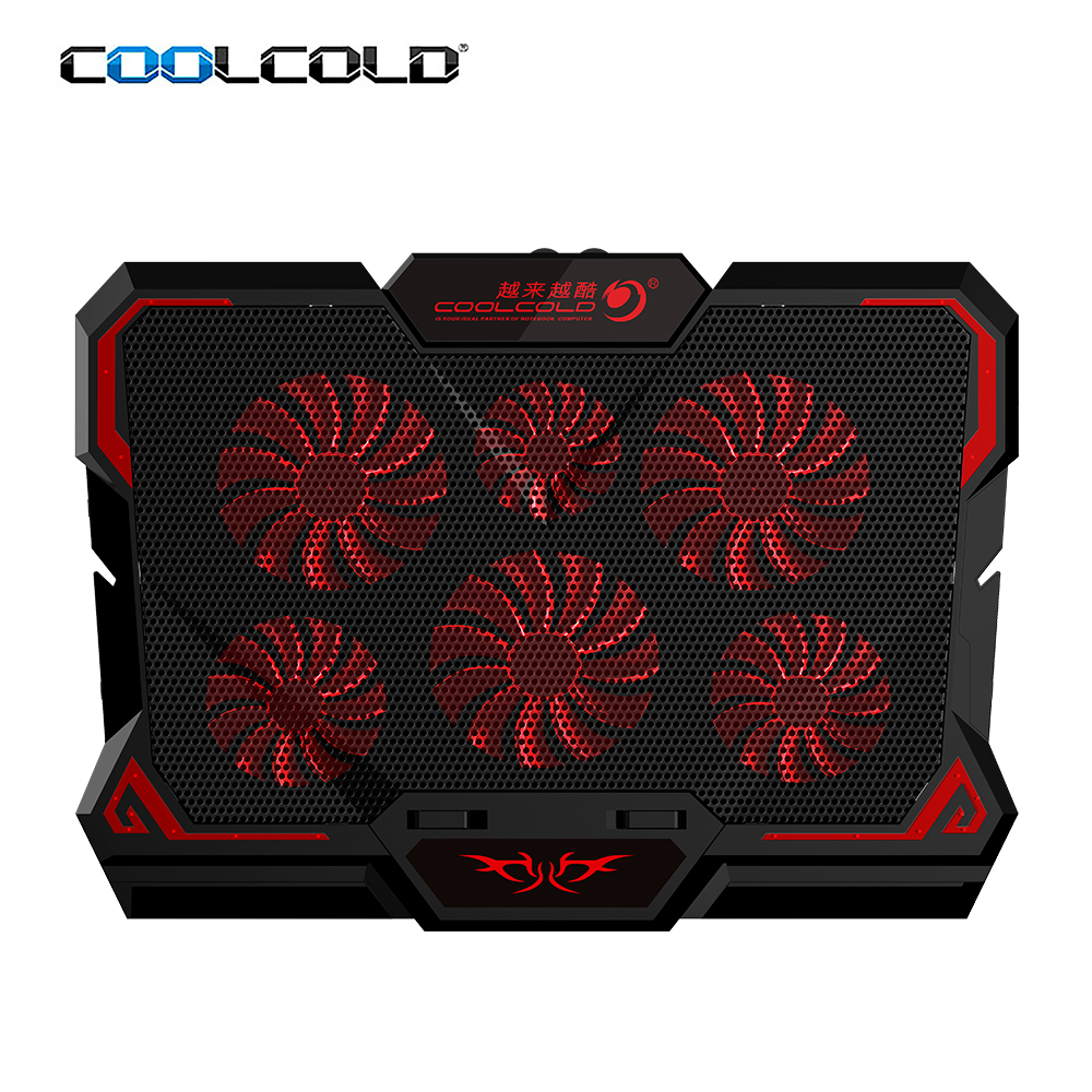 Draagbare zware usb laptop cooling pad led screen gaming laptop notebook cooler 6 fan voor 17inch notebook