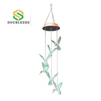 Double Zhe Hot Fashion Home Garden Decor Color-Changing Wind Chime Light Led Outdoor Hummingbird Wind Chimes Solar Light