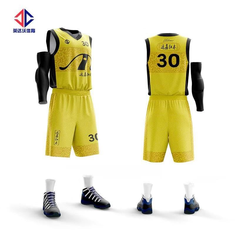 Frau farbe gelb sublimation basketball jersey uniform design