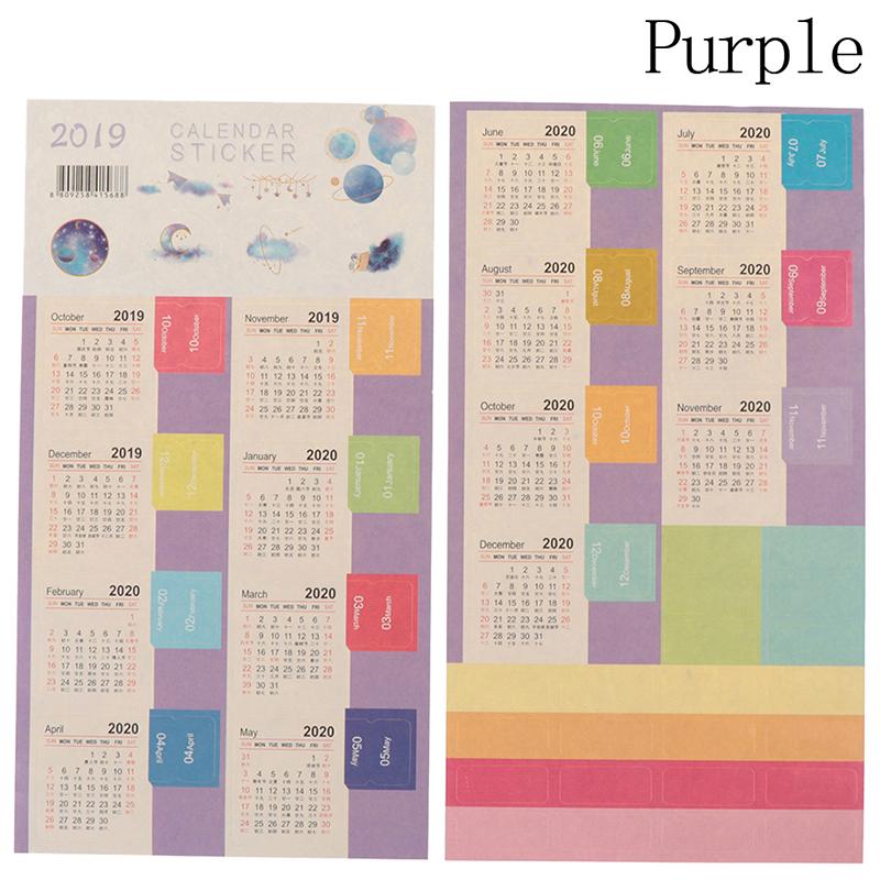 2019 2020 новый мультфильм цветные календари стикеры клейкие ленты без рисунка украшение для альбома планировщик, подельные стикеры тетрадь Ка...(Китай)