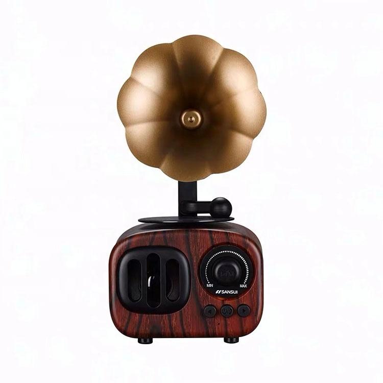 Newest Portable Shaped Wireless Bluetooth Speaker Retro Wood Wireless Speaker