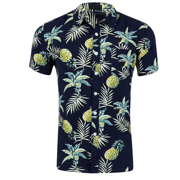 Style Wholesale Flower Print Polyester Flannel Shirt Boy Beach Aloha Shirts