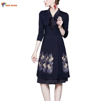 In stock fall new arrival fashion retro embroidered sexy v neck lace-up three quarter sleeve lady navy blue a line midi dress