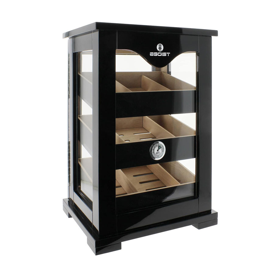 black glass window commercial display cigar humidor cabinet with humidifier