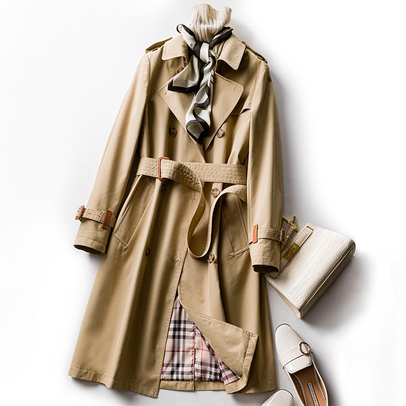 Windbreaker women's spring 2020 new Korean version popular medium long small women's high-end atmospheric coat