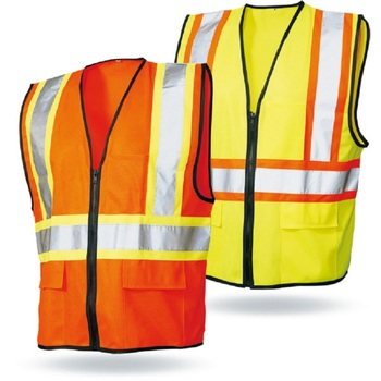 multi pockets 100% polyester high visibility orange mesh fabric workmans safety reflective vest