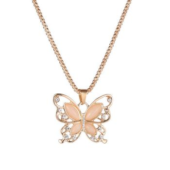 Fashion Women Opal Item Necklace Diamond Alloy Accessories Long Sweater Butterfly Chain Necklace