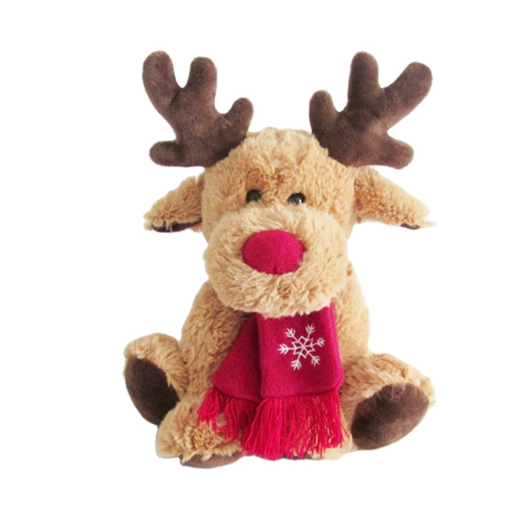 China wholesale stuffed animals christmas elk with red scarf printing snow Plush Animal Toy For gift