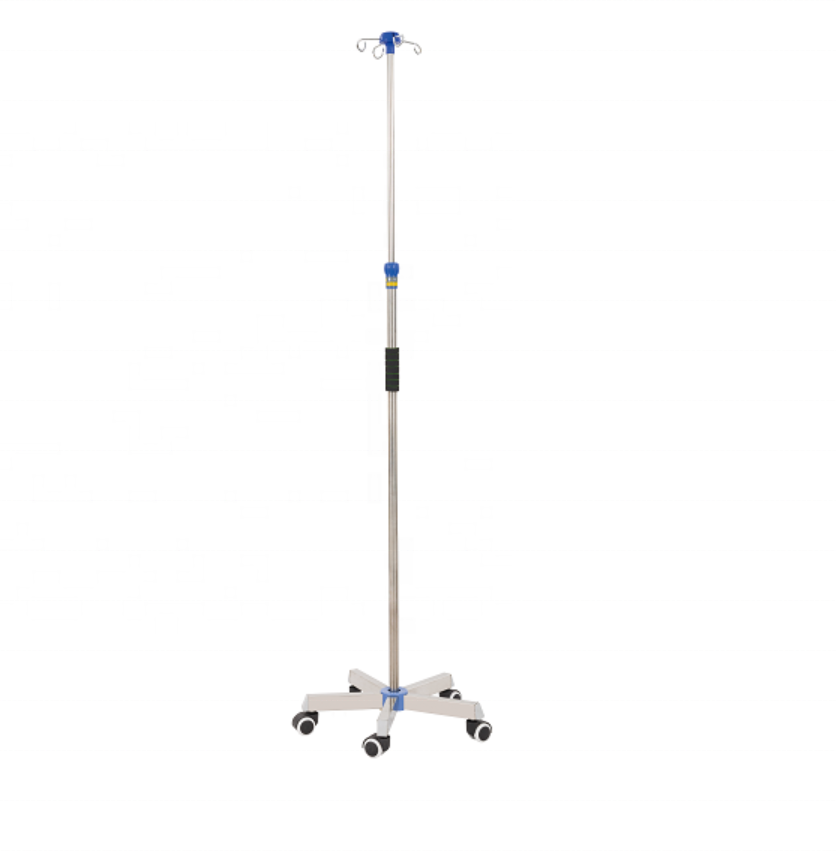Hospital 5 legs mobile stainless steel infusion/IV pole drip stand