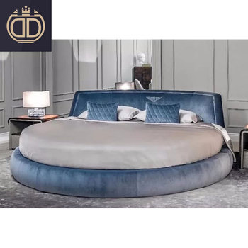 modern bedroom furniture blue fabric circle beds love hotel king size velvet luxury double round bed