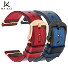 MAIKES Hand Made Watch Band Men's Watch Bracelet Genuine Cow Leather Watch Strap Handmade Brushed Color Vintage Watchband