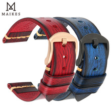 MAIKES 핸드 <span class=keywords><strong>시계</strong></span> 밴드 남자 <span class=keywords><strong>시계</strong></span> 팔찌 정품 암소 가죽 <span class=keywords><strong>손목</strong></span> <span class=keywords><strong>시계</strong></span> 닦았 색상 빈티지 밴드