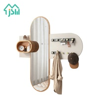 Eco-friendly wooden wall coat rack custom clothing rack with glass