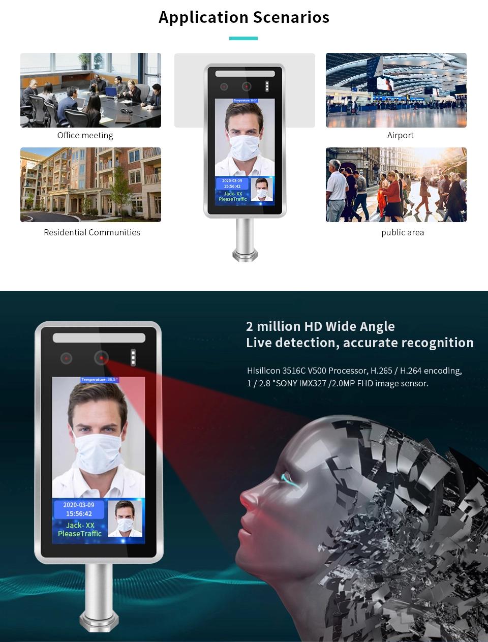 8 Inch Gezichtsherkenning Tijdregistratie Systeem Biometrische Toegangscontrole Oplossingen Luchthaven Gezichtsherkenning