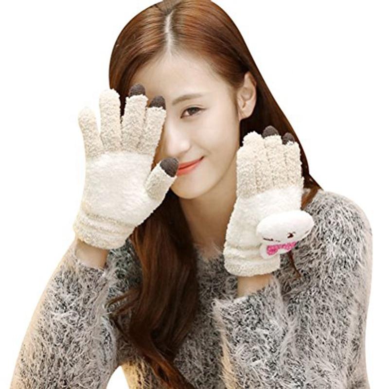 Cute Cartoon Girls Warm Smart Panda Cold Weather Touchscreen Knit Mitten Phone Texting Winter Gloves